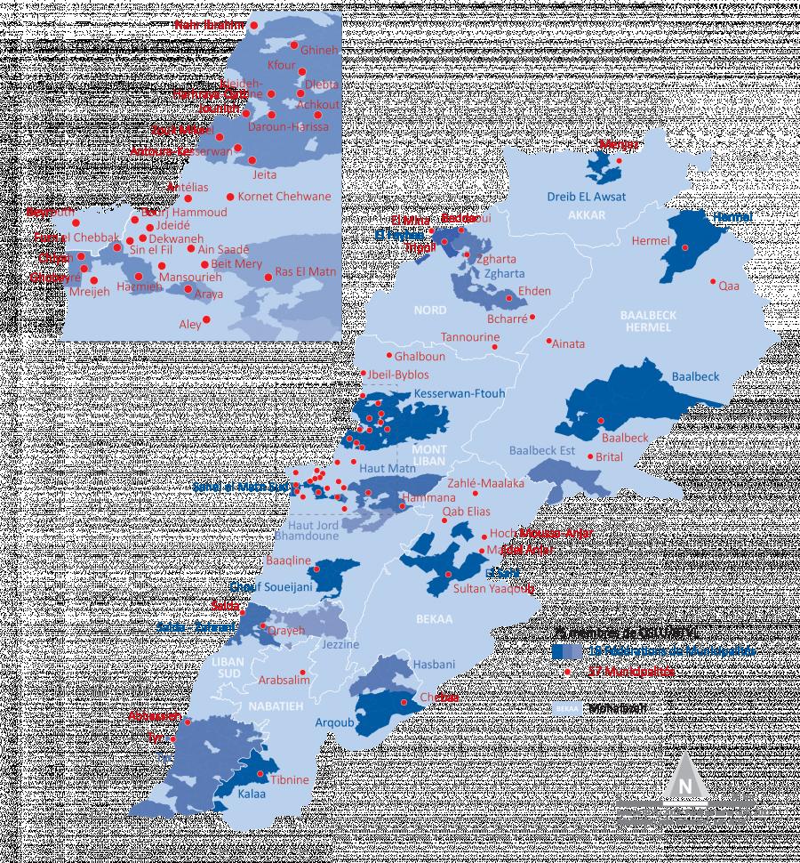 Carte Réseau des villes libanaises