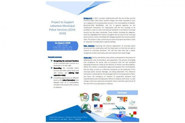 Fiche projet - Soutien à la structuration et à l'organisation des services de police municipale des collectivités locales libanaises