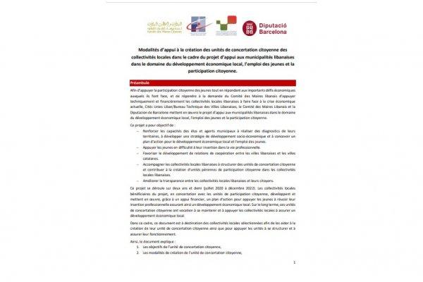 Charte de fonctionnement des unités de concertation citoyenne