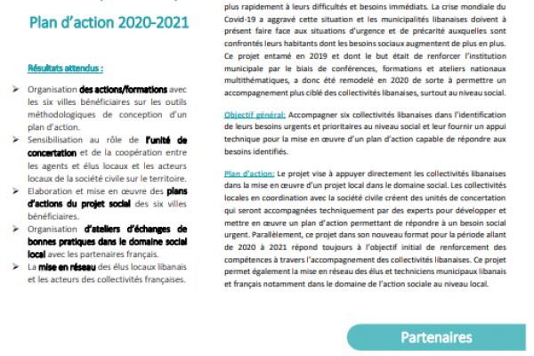 Fiche projet - Plan d'action 2020-2021