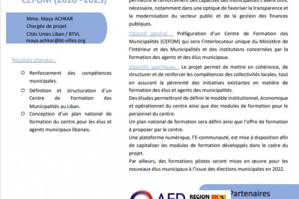 Fiche Projet - Projet de préfiguration d'un Centre de Formation des Municipalités – CEFOM